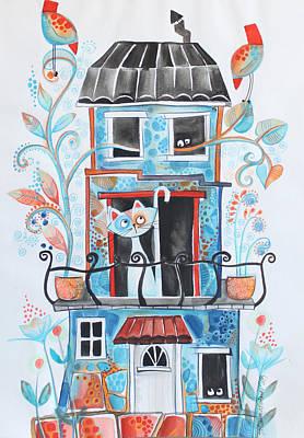 House Cats Drawing - Cat House by Johanna Virtanen