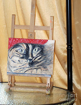 Painting - Cat In The Red Beret. Hello Pearl Collection 2015 by Oksana Semenchenko
