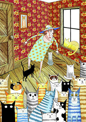 Whimsical Mixed Media - Cat Lady  by Andrew Hitchen