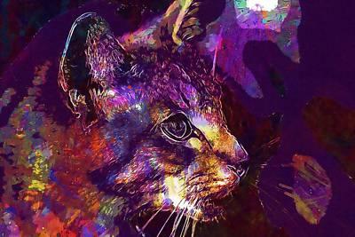 Digital Art - Cat Mieze Tiger Cat Breed Cat  by PixBreak Art