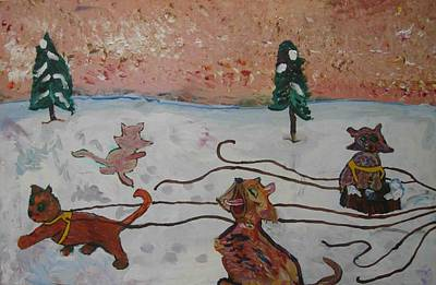 Painting - Cat Sled Team Left by AJ Brown