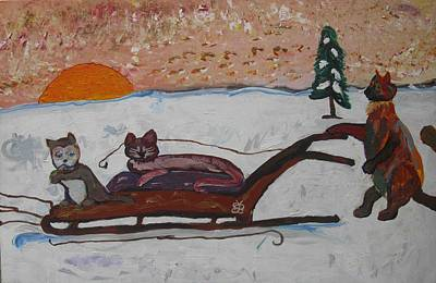 Painting - Cat Sled Team Right by AJ Brown
