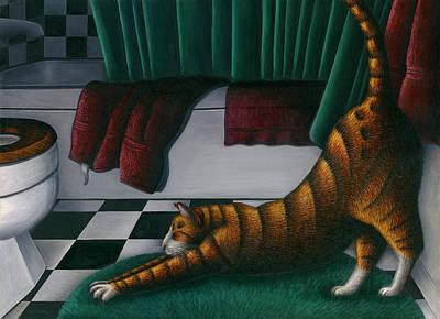 Orange Tabby Painting - Cat Stretching In Bathroom by Carol Wilson