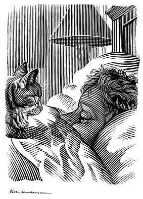 Cat Watching Sleeping Man, Artwork Art Print by Bill Sanderson