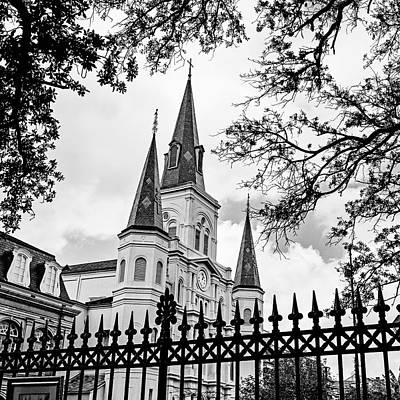 Fleur De Lis Photograph - Cathedral Basilica - Square Bw by Scott Pellegrin