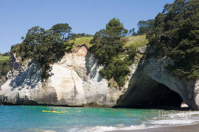 Kayaker Photograph - Cathedral Cove by Himani - Printscapes