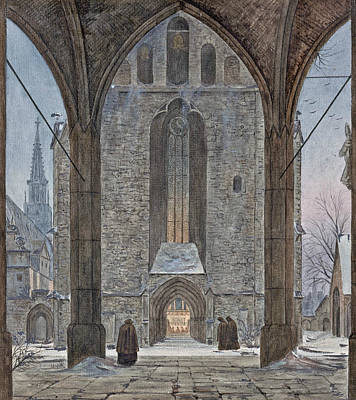 Drawing - Cathedral In Winter by Ernst Ferdinand Oehme