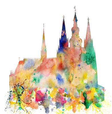 Tourist Attraction Digital Art - Cathedral Of Saint Vitus In The Prague Castle Watercolor Art by Michal Boubin