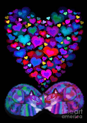 Kitty Digital Art - Cats And Hearts by Nick Gustafson