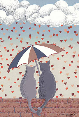 Umbrellas Mixed Media - Cats In Love by Anne Gifford