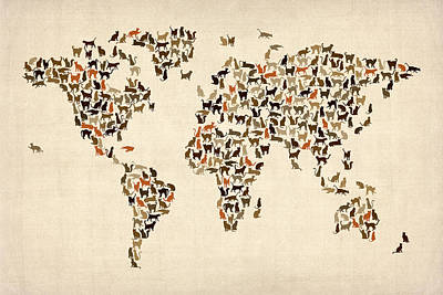 Mammals Digital Art - Cats Map Of The World Map by Michael Tompsett