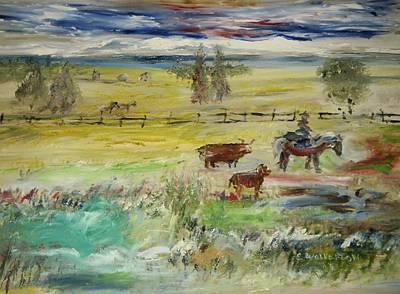 Cattle Drive Art Print by Edward Wolverton