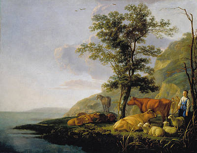 Baroque Painting - Cattle Near A River by Aelbert Cuyp