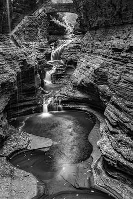 Photograph - Rainbow Falls Watkins Glen State Park Bw by Susan Candelario