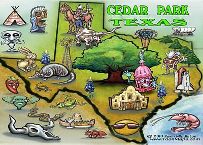 Caricature Digital Art - Cedar Park Texas Cartoon Map by Kevin Middleton