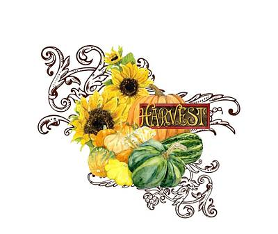 Americana Painting - Celebrate Abundance - Harvest Fall Pumpkins Squash N Sunflowers by Audrey Jeanne Roberts