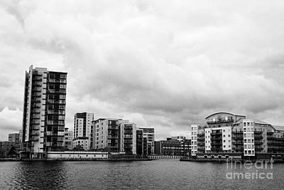 Maia Photograph - celestia and adventurers quay luxury apartment buildings on roath basin on overcast day Cardiff bay  by Joe Fox