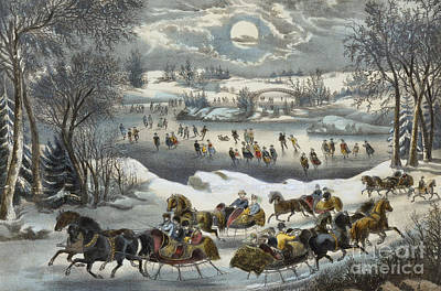 Painting - Central Park In Winter by Currier and Ives
