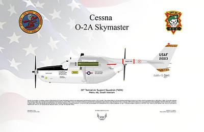 Digital Art - Cessna O-2a Skymaster by Arthur Eggers