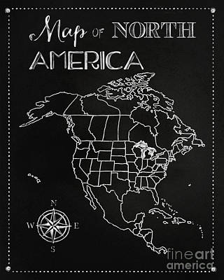 Chalkboard Map Of North America Art Print by Tina Lavoie