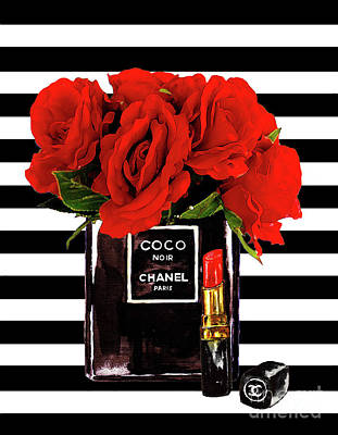 Chanel Wall Art - Mixed Media - Chanel Perfume With Red Roses by Del Art