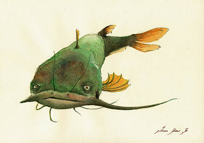 Channel Wall Art - Painting - Channel Catfish Fish Animal Watercolor Painting by Juan  Bosco
