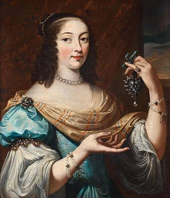 Abstract Male Faces - Charles Beaubrun Attributed To, Portrait Of A Woman In A Blue Dress With Lots Of Jewellery. by Charles Beaubrun