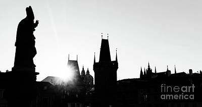 Photograph - Charles Bridge At Sunrise, Prague, Czech Republic. Statues And Towers Silhouettes by Michal Bednarek