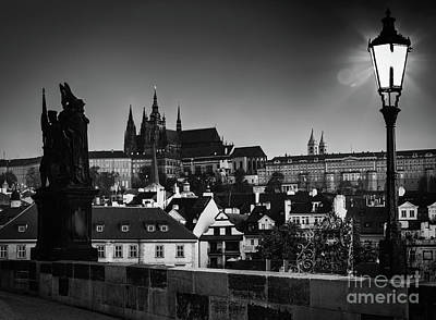 Photograph - Charles Bridge At Sunrise, Prague, Czech Republic. View On Prague Castle With St. Vitus Cathedral. by Michal Bednarek