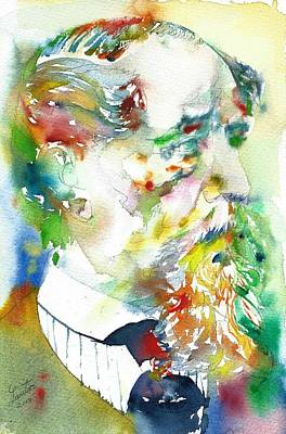 Painting - Charles Dickens - Watercolor Portrait.4 by Fabrizio Cassetta