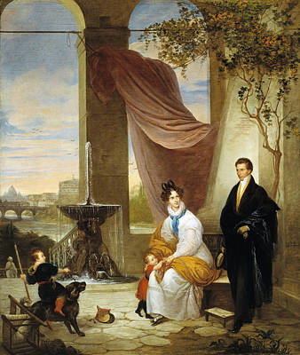 Painting - Charles Izard Manigault And His Family In Rome by Ferdinando Cavalleri