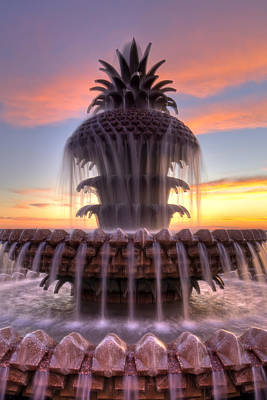 Charleston Pineapple Fountain Sunrise Art Print by Dustin K Ryan