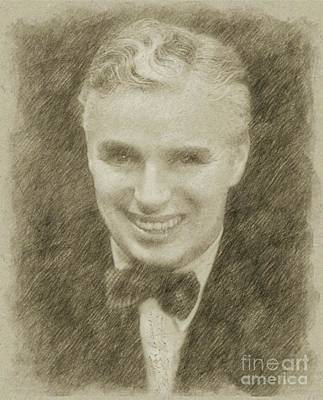 Star Trek Drawing - Charlie Chaplin Hollywood Legend by Frank Falcon