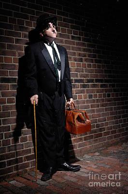 Snowy Night Photograph - Charlie Chaplin by Oleksiy Maksymenko