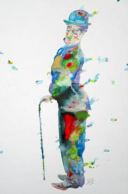 Painting - Charlie Chaplin - Watercolor Portrait.7 by Fabrizio Cassetta