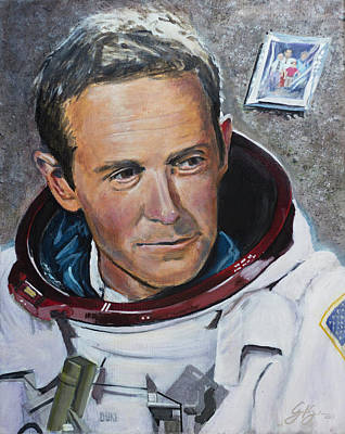 Nasa Painting - Charlie Duke by Simon Kregar