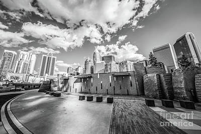 Charlotte Skyline Photograph - Charlotte North Carolina Black And White Photo by Paul Velgos