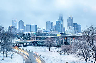 Photograph - Charlotte North Carolina City After Snowstorm And Ice Rain by Alex Grichenko