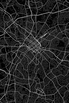 Usa Digital Art - Charlotte North Carolina Usa Dark Map by Jurq Studio
