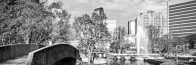 Charlotte Panorama Black And White Photo Art Print