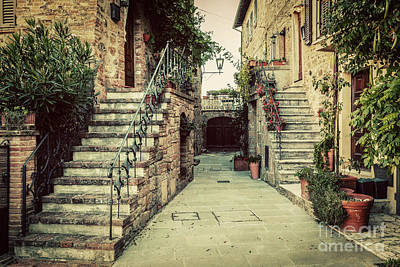 Photograph - Charming Old Medieval Architecture In A Town In Tuscany, Italy. by Michal Bednarek