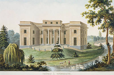 Columns Drawing - Chateau At Vinderhaute by Pierre Jacques Goetghebuer