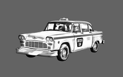 Checker Cab Photograph - Checkered Taxi Cab Illustrastion by Keith Webber Jr
