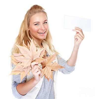 Photograph - Cheerful Girl With Dry Maple Leaves by Anna Om