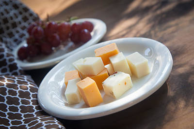 Cheddar Cheese Photograph - Cheese Plate With Red Seedless Grapes by Erin Cadigan