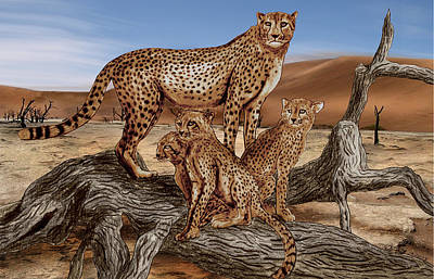 African Animals Drawing - Cheetah Family Tree by Peter Piatt