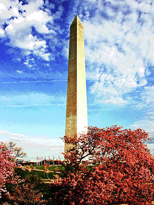 Photograph - Cherry Blossoms At The Washington Monument by Larry Oskin