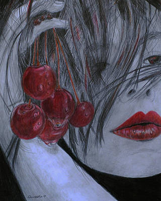 Drawing - Cherry Kisses by Quwatha Valentine
