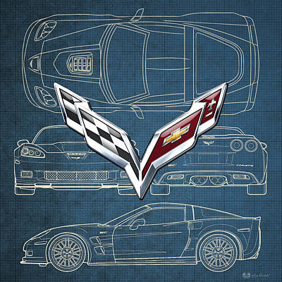 Car Photograph - Chevrolet Corvette 3 D Badge Over Corvette C 6 Z R 1 Blueprint by Serge Averbukh