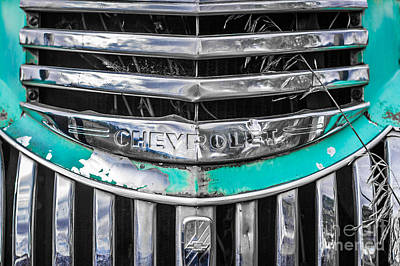 Turquoise And Rust Photograph - Chevrolet Grill 5 by Ashley M Conger